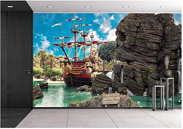 Wall26 Pirate Ship In The Backwater Of Tropical Pirate Island With Big Rock In Form Of Skull Near It Removable Wall Mural Self Adhesive Large Wallpaper 66x96 Inches