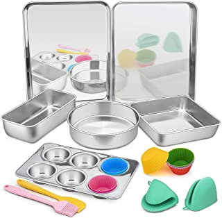 16 Pcs Bakeware Set, P&P CHEF Stainless Steel Bakeware With Kitchen Tools, Include Baking Sheet/Lasagna/Loaf/Muffin/Cake P...