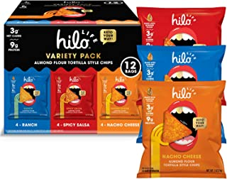 Hilo Life, Low Carb Keto Friendly Tortilla Chip Snack Bags Nacho Cheese Ranch Spicy Salsa, Variety Pack, 12 Count