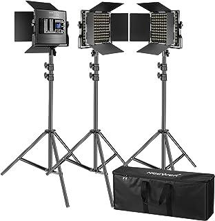Neewer 3 Pack 660 LED-videolampen met LCD-scherm verlichtingsset voor fotografie met standaard: dimbaar 3200-5600K CRI96 L...
