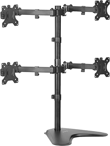 VIVO Quad LCD Computer Monitor Mount Free Standing Heavy Duty Desk Stand, Fully Adjustable, Holds 4 Screens Up to 30 ...