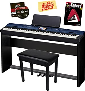Casio Privia PX-560 Digital Piano - Blue Bundle with CS-67 Stand, SP-33 Pedal, Furniture Bench, Instructional Book, Austin Bazaar Instructional DVD, and Polishing Cloth
