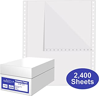 Alliance Continuous Computer Paper, 9.5 x 11, Blank Clean Perforated Edge 1-Part, 92 Bright, 20 lb, Made In The USA… (2,400 Sheets)