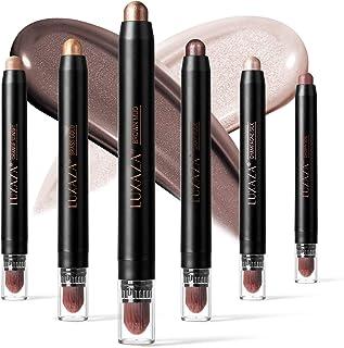 LUXAZA 6 PCS Brown and Neutral Metallic Eyeshadow Stick,Soft & Smooth Cream Shimmer Eyeshadow Pencil Crayon,Pro Long Lasti...