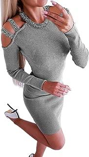 PRETTYGARDEN Women's Long Sleeve Crew Neck Cold Shoulder Stretchy Sweater Sexy Keyhole Bodycon Knit Mini Dress