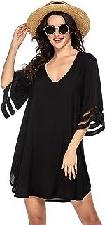Ekouaer Women's Swimsuit Cover Ups V-Neck Beachwear 3/4 Bell Sleeve Bikini Beach Dress S-XXL