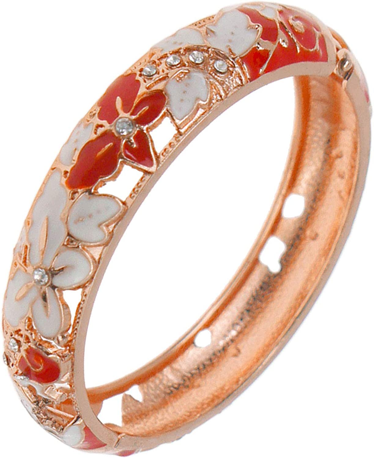 UJOY Colored Cloisonne Bangle Crystal Golden Butterfly Hinged Bracelet Hollowed Enamel Jewelry Gifts 88C10