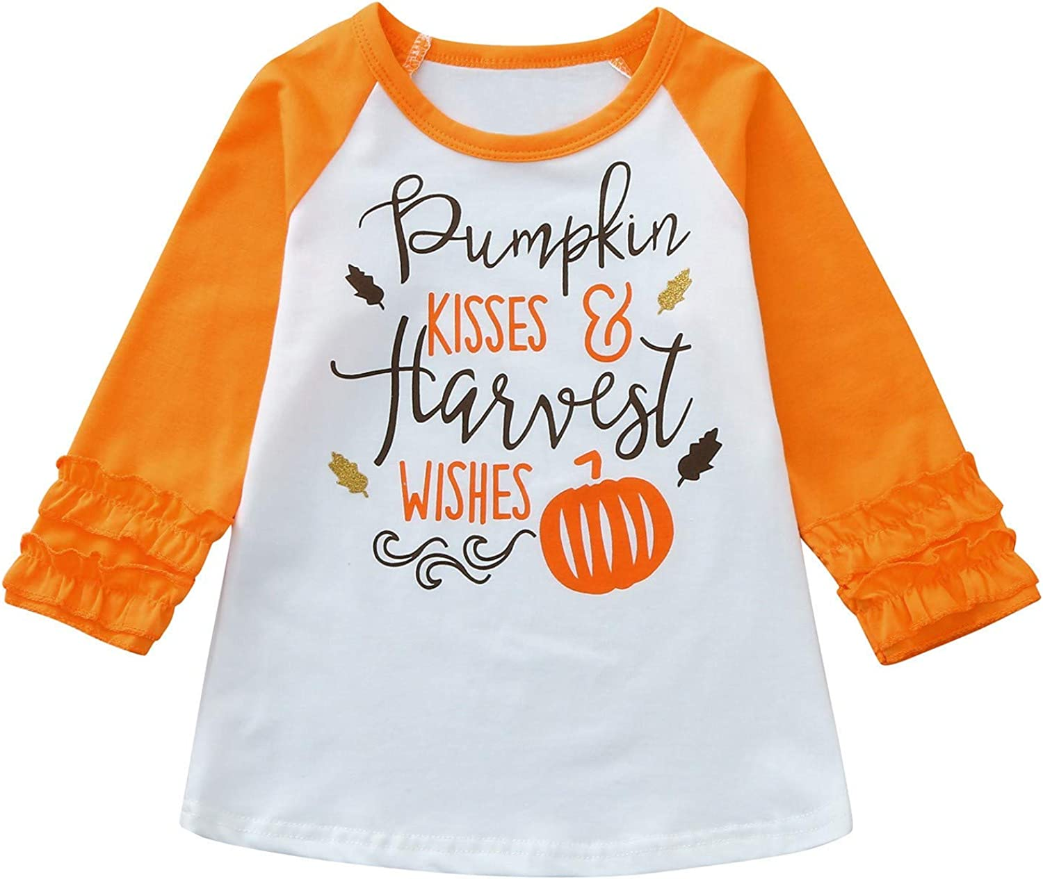 Raleigh Mall FORESTIME Toddler Baby Kids Boy All items free shipping T-Shirt Pumpkin Tops Ruffle Girl