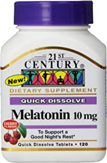 Sponsored Ad - 21st Century Melatonin Quick Dissolve Tablets, Cherry, 10 mg, 120 Count (Pack of 2)