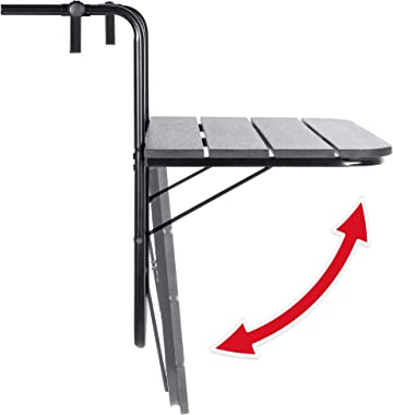 Best Choice Products Outdoor Indoor Folding Hanging Table Adjustable Balcony Railing Table for Patio, Garden, Deck, Black