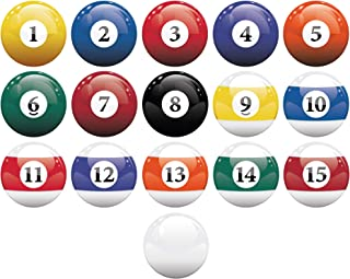 16 Realistic Color Billiard Balls Wall Decal Sticker Game Room Sign Decor #6089 Easy to Apply & Removable. 10in X 10in Bal...