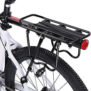 自転車荷台 リアキャリア バイク アルミニウム合金素材 ワンタッチ 耐荷重50kg 荷物ラック 安定 汎用タイプ 固定用ゴム紐・反射板・取付工具付き 日本語取付説明書付き