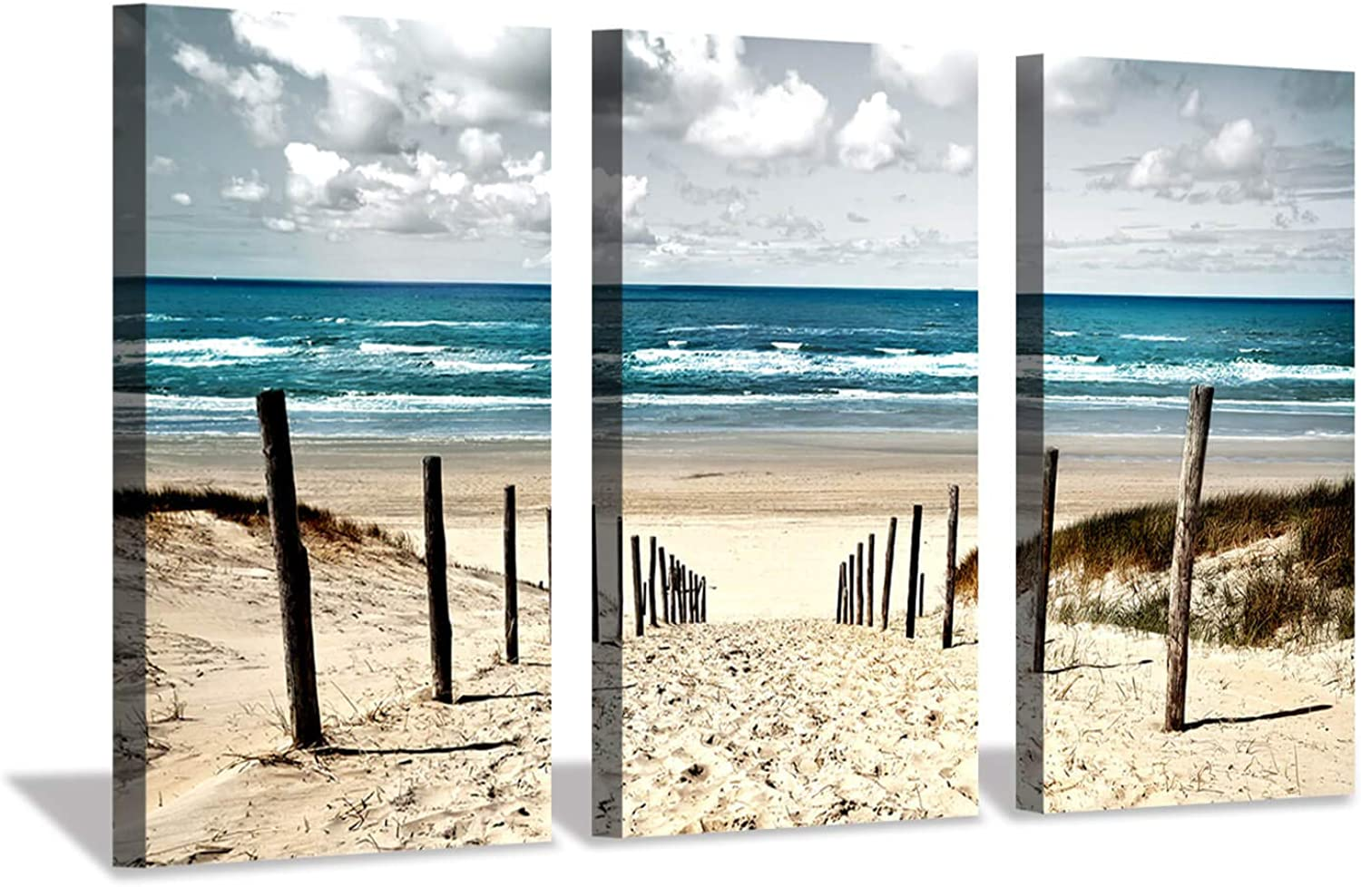 Seascape Picture Beach Artwork Prints  Sand Dune Fence Wall Art on Canvas Set