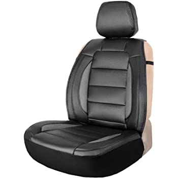 Sitzauflage Auto Vordersitze Autositzmatte Wasserdicht Autositzbezug Fahrersitz Universal Sitzschutz Kunstleder Beige f/ür Airbag geeignet 1 Autositz Vorne saferide