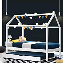 Artiss Single Bed Frame, Wooden Kids House Bed with Trundle, White
