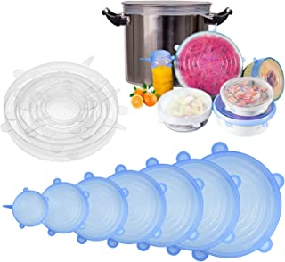 [14pcs] longzon Silicone Stretch Lids (Include 2 Exclusive XXL Size up to 12''), Reusable Durable Food Storage Covers for Bowls, Fit Different Sizes & Shapes of Container, Dishwasher & Freezer Safe