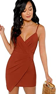 957ade50438 Verdusa Women s Ruched Front Deep V Neck Sleeveless Bodycon Mini Dress