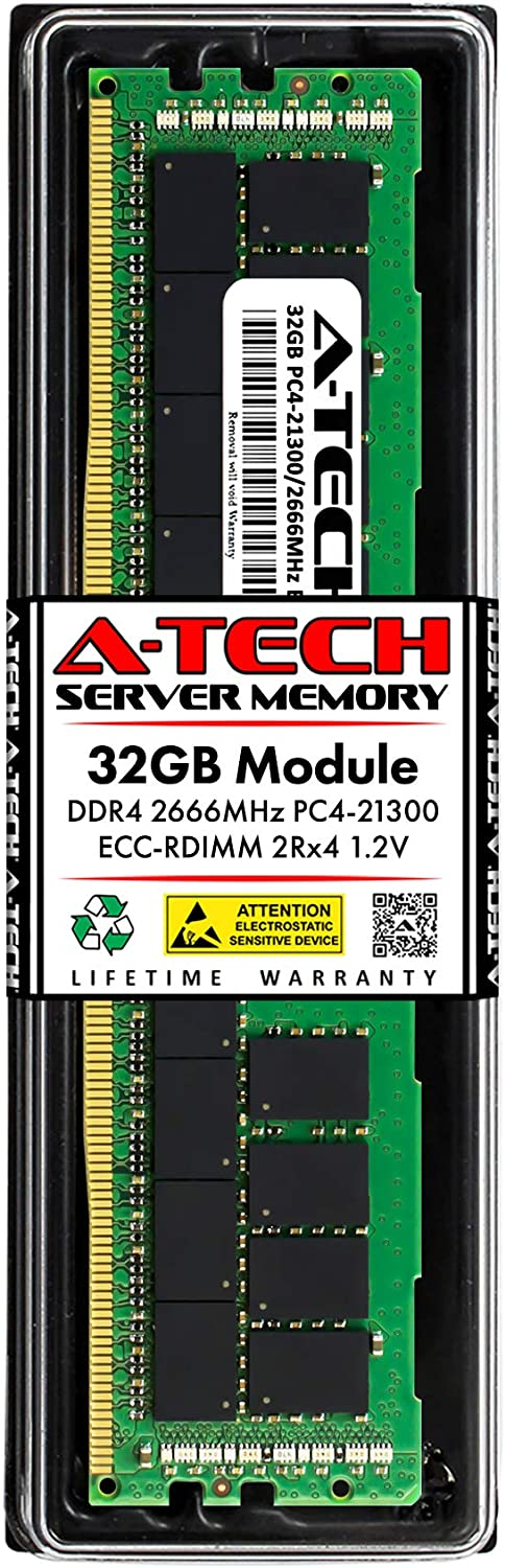 A-Tech 32GB Memory RAM for Dell Precision Workstation 5820 Tower - DDR4 2666MHz PC4-21300 ECC Registered RDIMM 2Rx4 1.2V - Single Server Upgrade Module (Replacement for SNPTN78YC/32G)