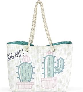 ARDITEX Grand sac de plage en jute modèle Cactus 49x32x12cm Travel Tote, 49 cm, Green (Vert)