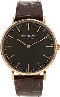 Kenneth Cole Mens Quartz Watch, Analog Display and Leather Strap KC50507003