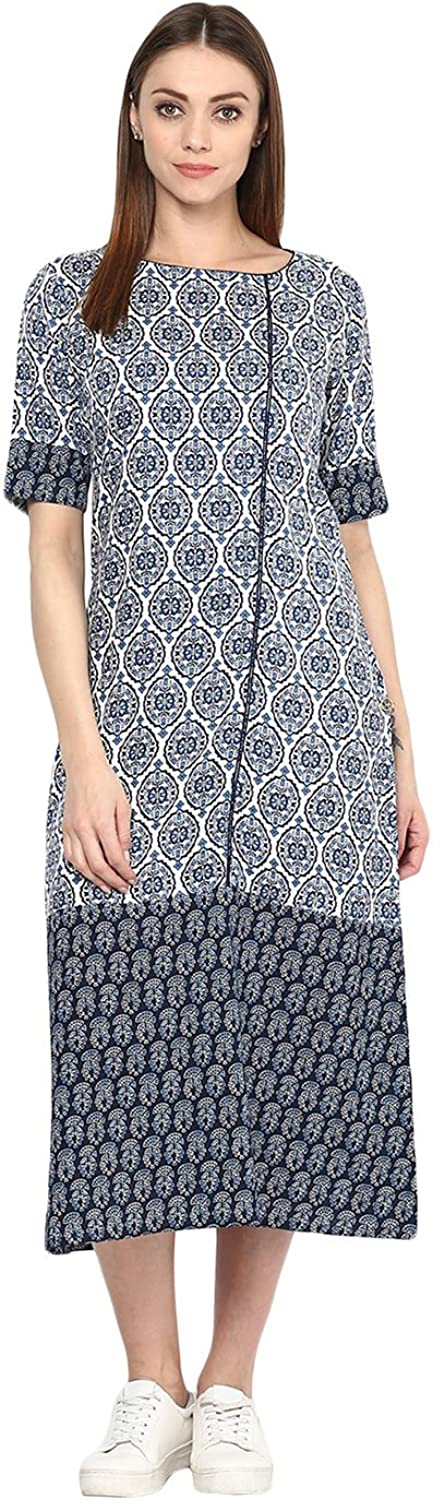Jaipur Kurti Women Casual Tunic Long Maxi Printed Dress (Grey)
