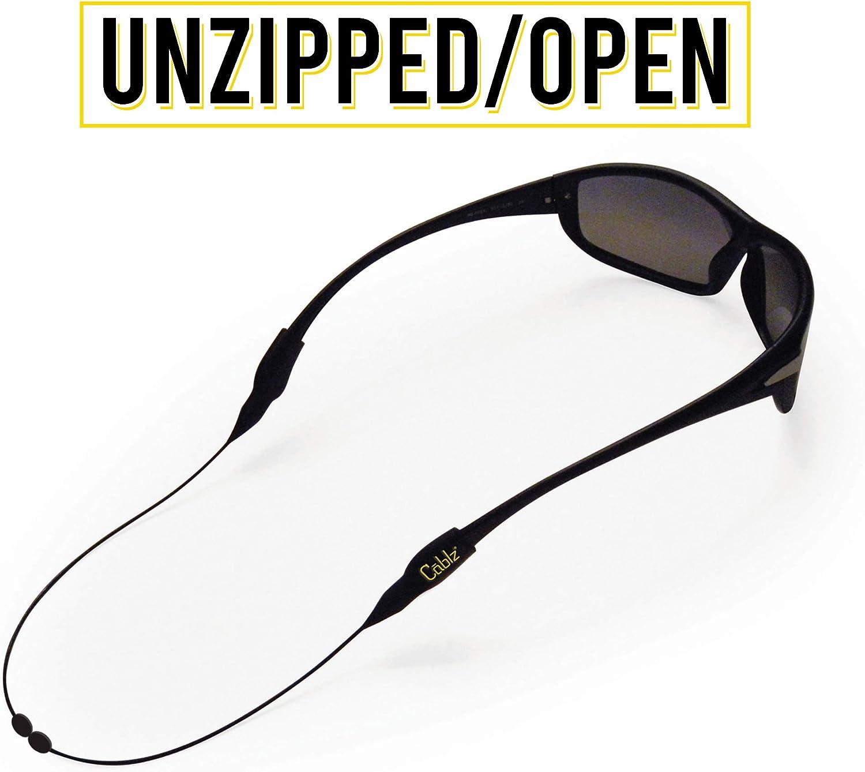 Cablz Zipz Adjustable Eyewear Retainer   Adjustable, Off-The-Neck Eyewear Retainer, Black Stainless (10in)