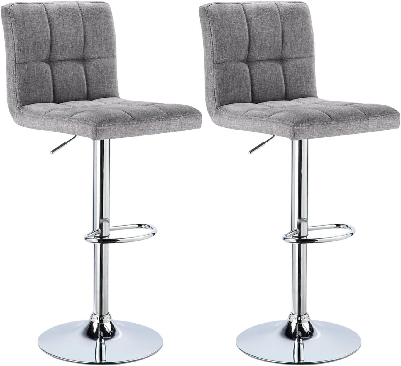 WOLTU Bar Stools Light Grey Bar Chairs Breakfast Dining Stools for Kitchen  Island Counter Bar Stools Set of 9 pcs Linen Exterior/Adjustable Swivel Gas  ...