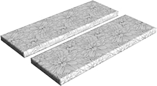 Lunarable Abstract Bench Cushion Set of 2, Dahlia Flowers in Sketch Art Style Vintage Petals with Contouring Outlines, Standard Size Foam Pad and Decorative Cover, 45