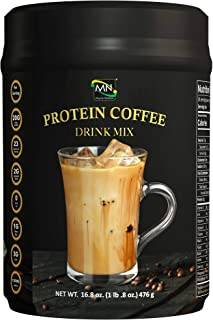Coffee Protein Drink Mix - Delicious Iced Coffee Powder with 20 Grams of Protein, 23 Grams of Vitamins and Minerals and 120 MG of Caffeine to Boost Energy and Metabolism (16.8 oz)