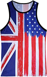Fashion Men's Casual Printed The Old Glory Independen Sleeveless Tank Top Blouse