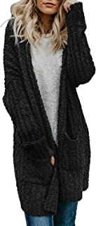 Dokotoo Womens Soft Oversized Open Front Popcorn Sweater Cardigans Outerwear with Pockets