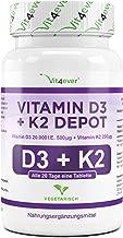 Vit4ever® Vitamin D3 20.000 I.E + Vitamin K2 200 mcg Menaquinon MK7 Depot - 180 Tabletten - 99% All-Trans - Laborgeprüft - Alle 20 Tage eine Tablette - Vegetarisch - Premium Qualität