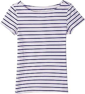 Minimalism-jp ボートネックボーダーTシャツ ドロップショルダー 7分袖 ボートネック Tシャツ レディース