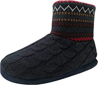 COFACE Men's Faux Fur Lined Knit Anti-Slip Indoor Slippers Boot House Slipper Bootie
