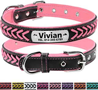 Vcalabashor Custom Leather Collar,Personalized Engraved Dog Collar with Stainless Steel On Collar Nameplate