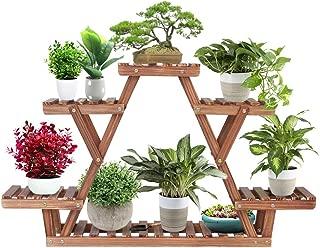 Ufine Wood Plant Stand Triangular Plant Shelf Multi Tier Flower Display Holder Storage Rack 6 Pots for Indoor Outdoor Living Room Balcony Patio