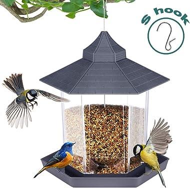 Kearui Wild Bird Feeders, Hummingbird Feeders for Outdoors Hexagon Shaped with Roof Hanging, for Bird Watchers, Gazebo and Ga