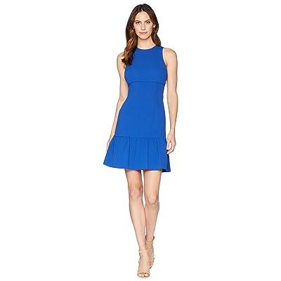 Donna Morgan Crepe Sheath Dress with Flounce (Blue Flame) Women