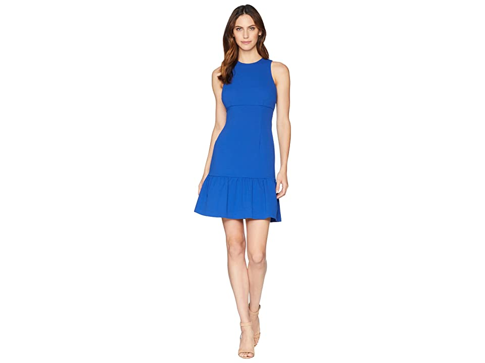 Donna Morgan Crepe Sheath Dress with Flounce (Blue Flame) Women