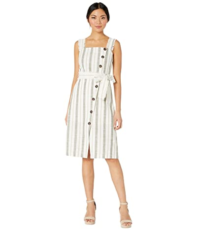 American Rose Aviana Striped Midi Dress with Waist Tie (Ivory/Olive) Women