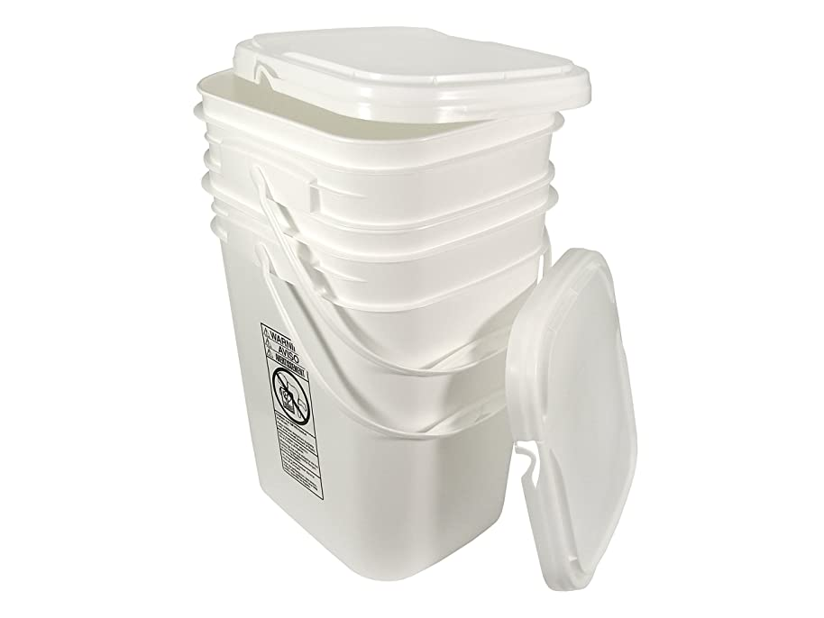 5.3 Gallon White Rectangular Bucket/Pail with Hinged Snap Lid, 2 Pack