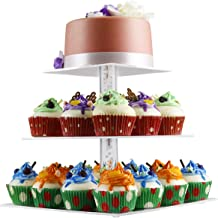 3 Tier Cake Stand,NewCrea Birthday Cupcake Stand,Clear,Acrylic,Square