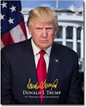 President Donald Trump Official Presidential Portrait With Signature 8x10 Silver Halide Photo Print