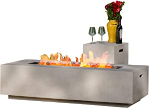 Christopher Knight Home 296666 Jaxon Outdoor Fire Table with Lava Rocks & Tank Holder (Light Grey), White
