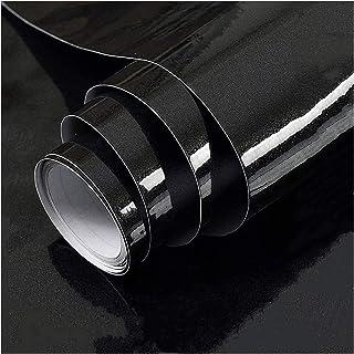 Shiny Black Wallpaper Peel Stick Wallpaper Vinyl Self Adhesive Decorative Film for Shelf Liner Kitchen Countertops Cabinet...