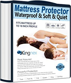 Kingnex Waterproof Bamboo Mattress Protector Full Size Hypoallergenic Breathable Fitted Mattress Cover
