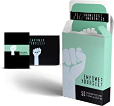 Empower Yourself – 50 Mindfulness Question Cards and a Guided Daily Journal - for Therapy Card Games, Journaling, Self Help, Self Care or Inspirational Meditation Gifts.