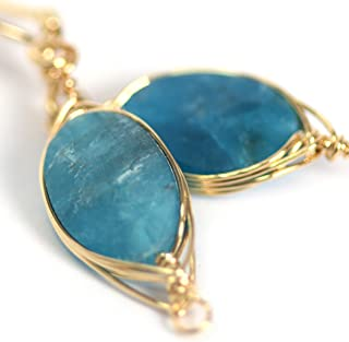 Natural Stone Wire Wrap Dangle Drop Earrings Gold Plated 925 Sterling Silver Hook/Apatite Oval