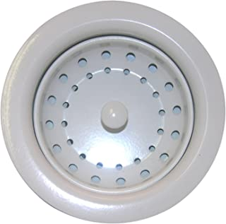 LASCO 03-1069 Kitchen Sink Post Type Basket Strainer Duo Locknut Style with Stainless Steel Body, White Finish