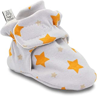 Owluxe Organic Cotton Baby Booties Crib Shoes with Kick Proof, Newborn, 3-6 Months, Star Pattern, Yellow, Unisex